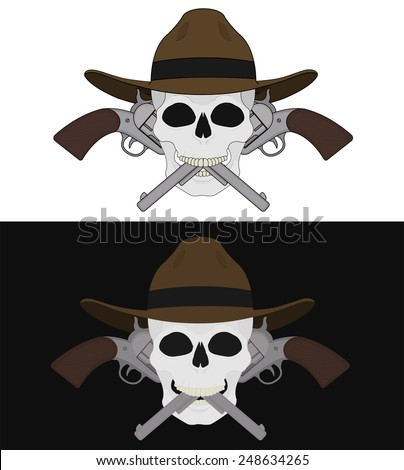 Skull in hat 2 crossed pistols emblem. Vector clip art illustration isolated on white and black - stock vector