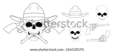 Skull in hat 2 crossed pistols emblem. Vector clip art linear illustration isolated on white - stock vector