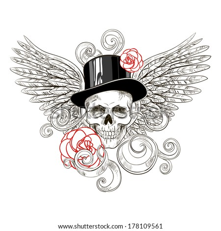 Skull in hat with roses on background wings