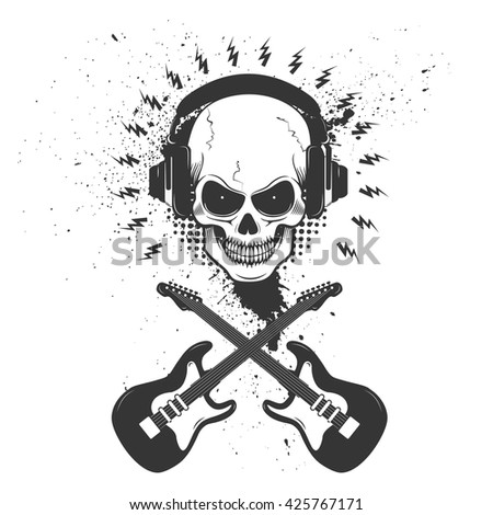 Skull in headphones with two crossing guitars on grunge background. Design element for poster, t-shirt print, emblem, badge, sign. - stock vector
