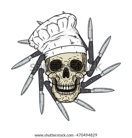 Skull in toque with knifes