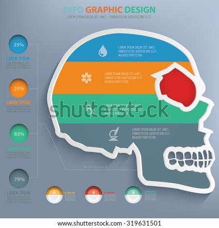 Skull info graphic design,clean vector - stock vector