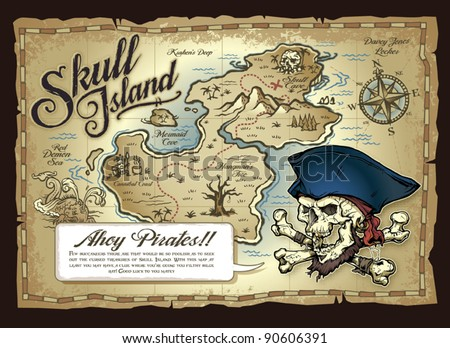 Skull Island Treasure Map - stock vector