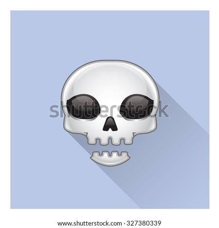 Skull long shadow avatar - stock vector