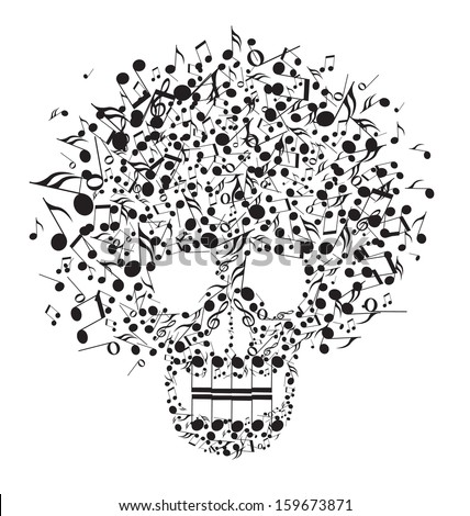 Skull made from notes on a white background - stock vector