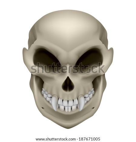 Skull of a mutant with fangs. Illustration on white background