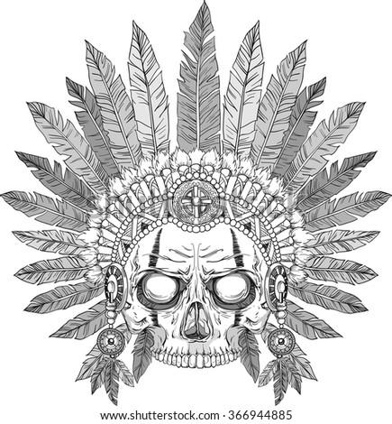 skull of native american in chief headdress - stock vector