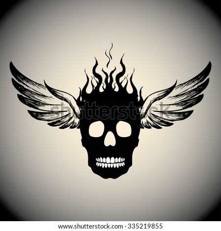 Skull on Fire with Flames and wings,Vector Illustration - stock vector