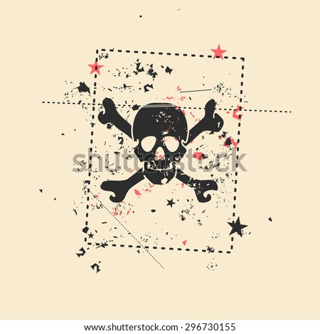 Skull on grunge background. Vector illustration.  - stock vector