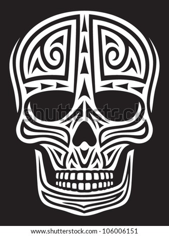 skull ornament (skull in tattoo style, tattoo skull, tribal skull) - stock vector