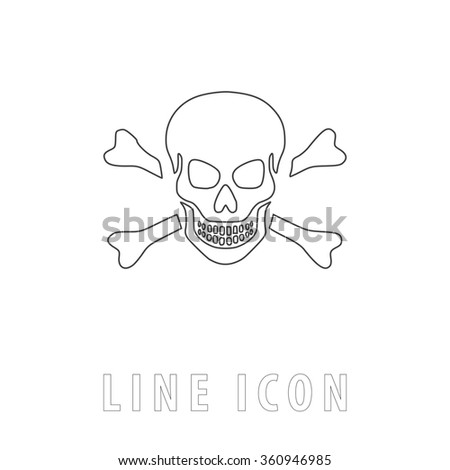 Skull Outline simple vector icon on white background. Line pictogram with text