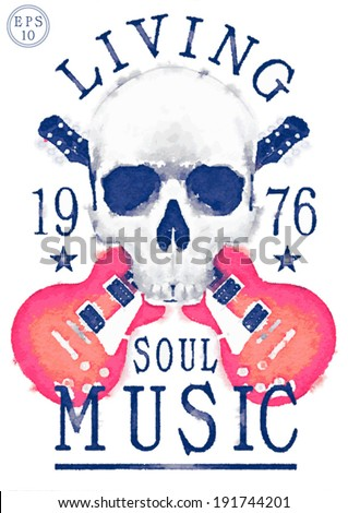 skull pattern / theme music concert / rock and roll poster design / T-shirt graphics - stock vector