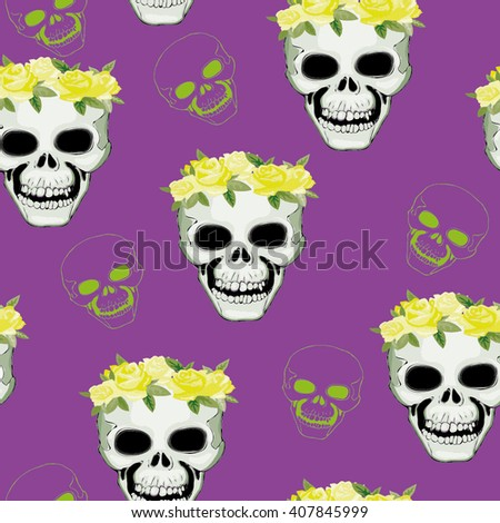 skull pattern with flowers - vector illustration