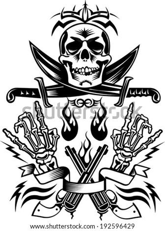 Pirate skull and guns - photo#13