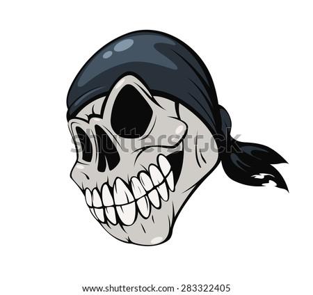 Skull pirate bandana on a white background. Vector illustration  - stock vector