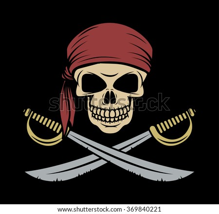 Skull pirate wearing a bandana with crossed swords - stock vector