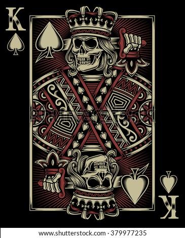 Skull Playing Card - stock vector