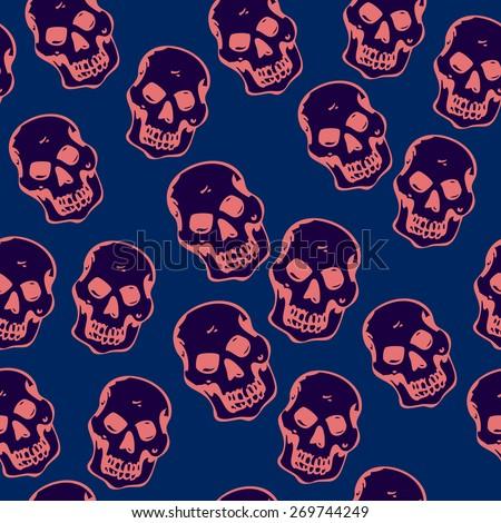 skull seamless pattern - stock vector