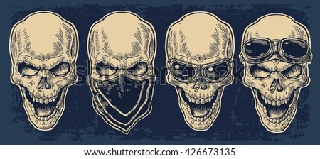 Skull smiling with bandana and glasses for motorcycle on forehead. Black vintage vector illustration. For poster and tattoo biker club. Hand drawn design element isolated on dark blue background - stock vector