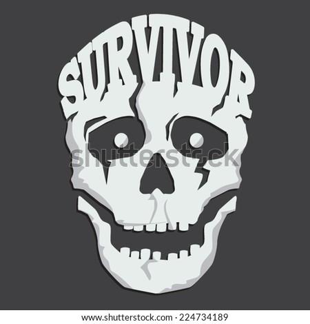 Skull survivor, illustration, t-shirt graphics, vector - stock vector