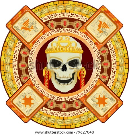 Skull the god of death of Aztecs stylization in a vector - stock vector