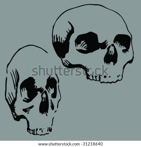 skull thinline - stock vector