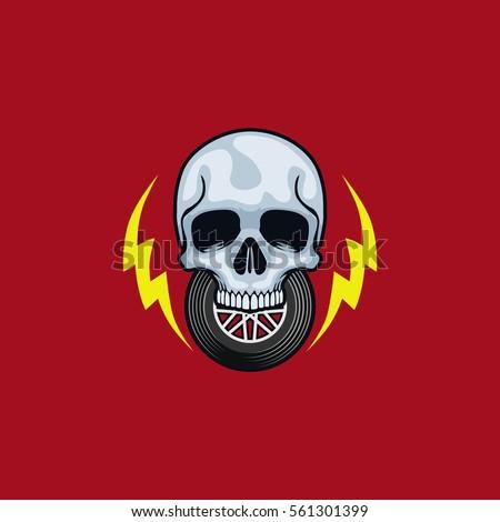 Skull Thunder Wheels Logo Vector Illustration
