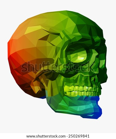 skull vector with triangle polygonal style - stock vector