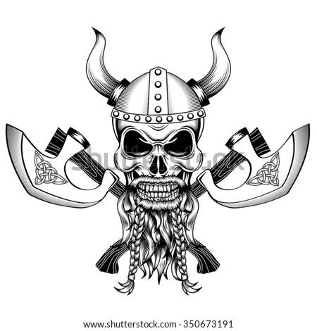 Skull Viking Helmet Horns Two Crossed Stock Vector 350673191 ...