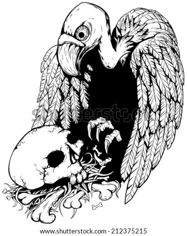 Skull vulture black and white vector, vertical,  isolated  - stock vector