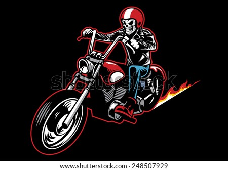 skull wearing a leather biker jacket and ride a motorcycle  - stock vector