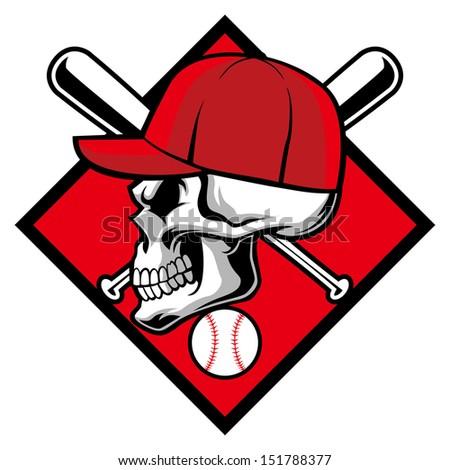 skull wearing hat crossed baseball bat stock vector 2018 151788377 rh shutterstock com Vector O Baseball Bat Baseball Bat Outline