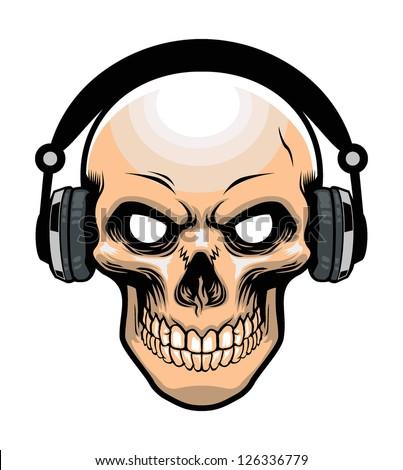 skull wearing headphone - stock vector