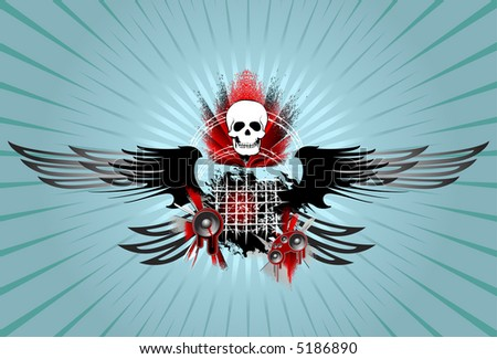 Skull, wind, blood and music - stock vector