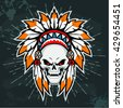 Skull with american indian headdress. Vector illustration - stock photo