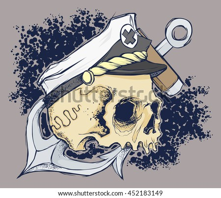 skull with anchor and captain hat