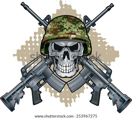 skull with army helmet and crossing assault rifles - stock vector