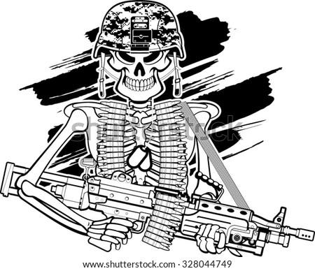 skull with army helmet and m249 machine gun - stock vector