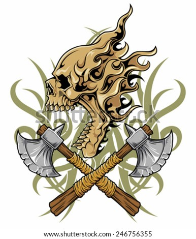skull with axes - stock vector