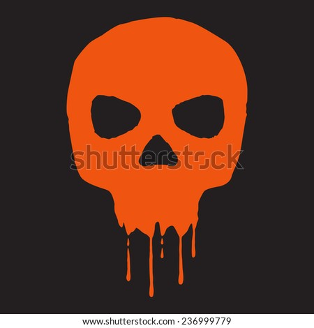 Skull with blood vector illustration. - stock vector