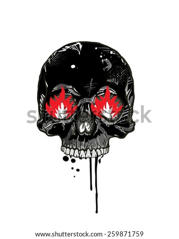 Skull with burning eyes. vector - stock vector