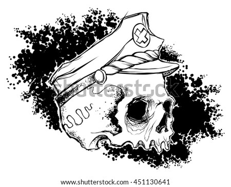 skull with captain hat