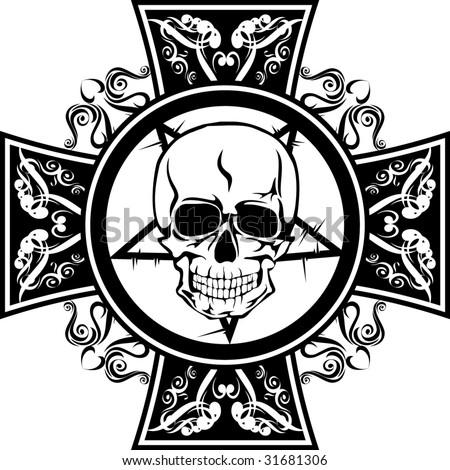 skull with cross - stock vector