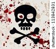 Skull with crossbones, vector illustration - stock vector