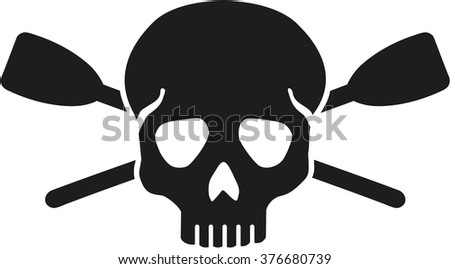 Skull with crossed paddles - stock vector