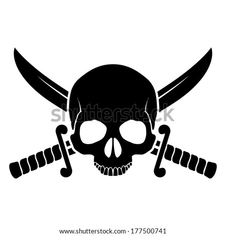 Skull with crossed sabers. Black-and white illustration of pirate symbol - stock vector