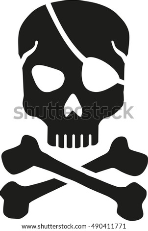 Skull with eyepatch and crossbones