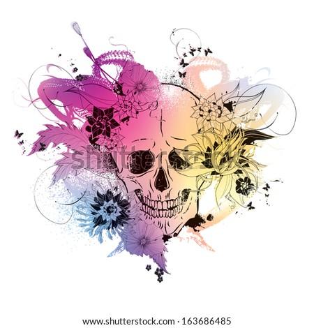 Skull with flowers vector grunge illustration eps10 - stock vector