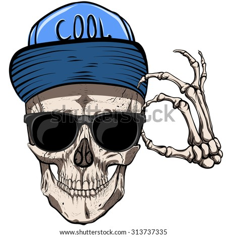 Skull with glasses and blue cap.White background.
