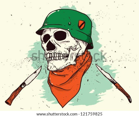 skull with helmet - stock vector
